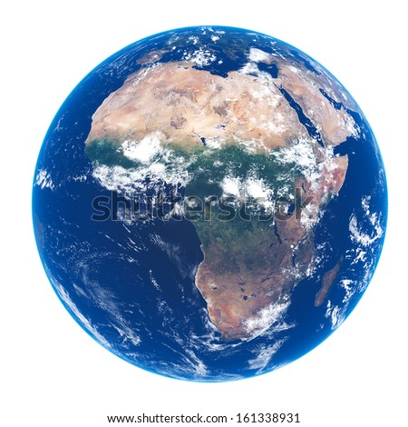 Planet EARTH on white - Satellite view of AFRICA (source maps- http://visibleearth.nasa.gov/) Ultra high resolution - stock photo
