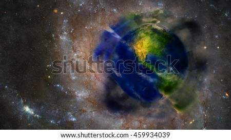 Planet Earth Painting Artwork - Creative International Display - Based on North America 3D Illustration (Elements of this image furnished by NASA)