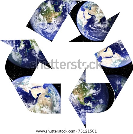 Planet Earth placed within recycling arrows - stock photo