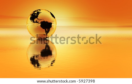 Planet earth reflected in an orange sea with an orange atmosphere - stock photo