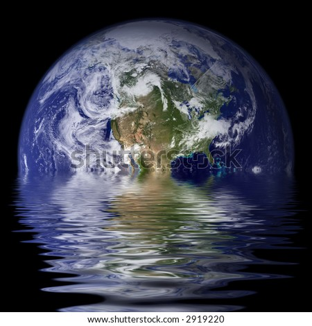 Planet Earth reflected on water with waves / ripples.
