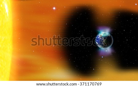 "Planet Earth's magnetic field against Sun's solar wind and aurora ""Elements of this image furnished by NASA"" - stock photo"