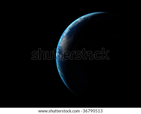 planet earth seen from outer space - stock photo