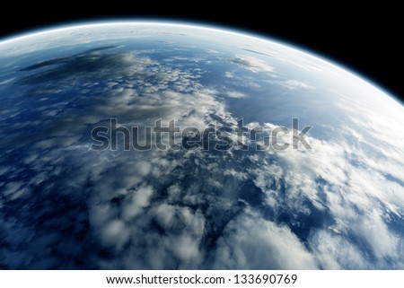 planet earth seen from space - stock photo