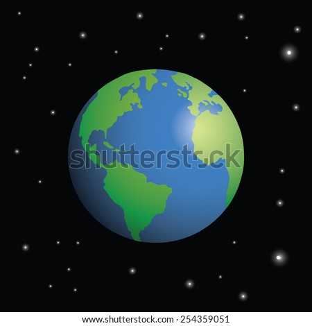 Planet Earth seen from space, surrounded by stars. - stock photo