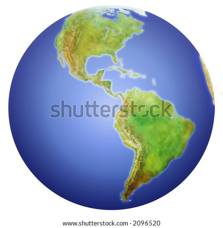 Planet Earth showing North, Central, and South America. Painstakingly done with Illustrator and Photoshop using electronic tablet for textures. (With Clipping Path)