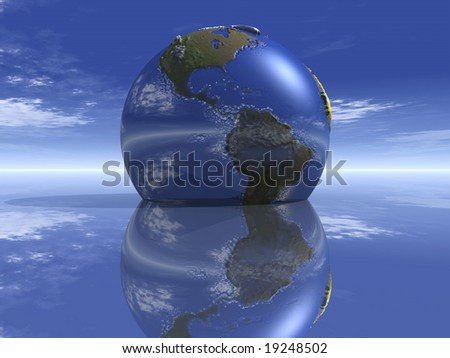 Planet Earth sinking into still water