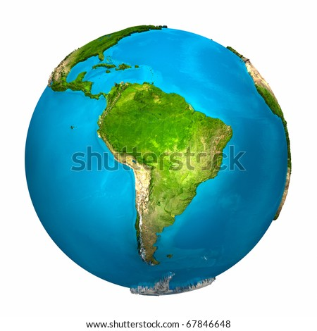 Planet Earth - South America - colorful globe with detailed and realistic surface, 3d render - stock photo
