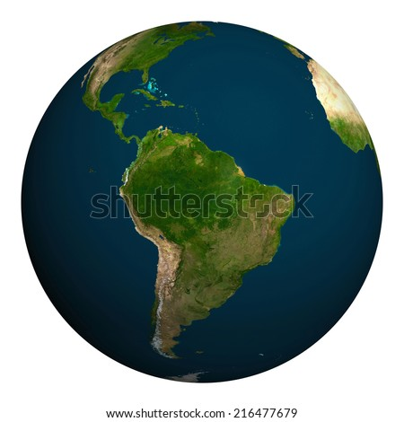 Planet earth. South America. Elements of this image furnished by NASA.