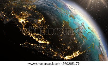 Planet Earth South East Asia zone. Elements of this image furnished by NASA - stock photo