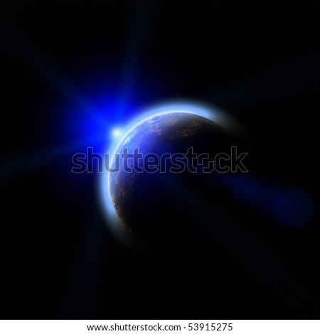 Planet Earth. Space sunrise