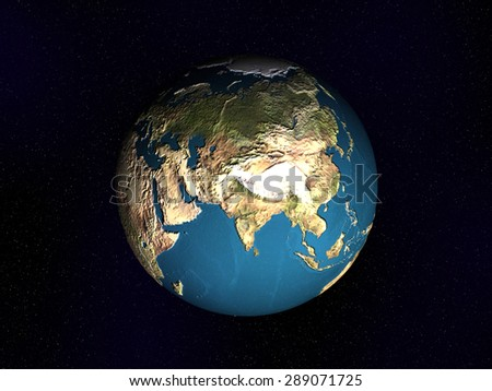 Planet Earth. Space view on Asia - stock photo