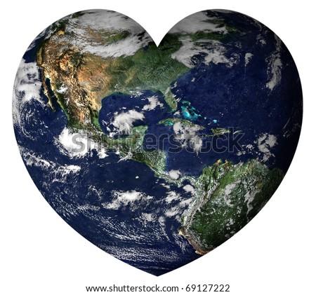 Planet Earth stylized like a heart - stock photo