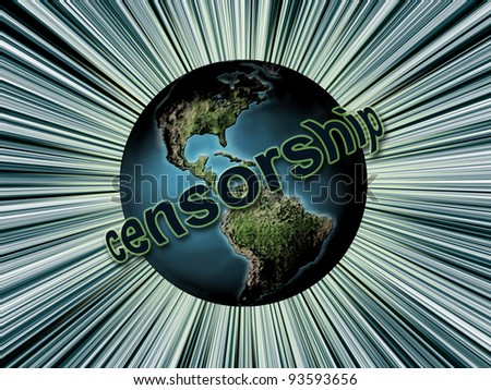 Planet Earth surrounded by Censorship word as Global Censorship concept - stock photo