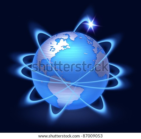 planet earth surrounded by rings of light. - stock photo