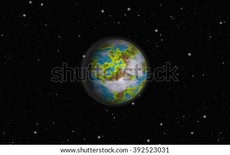 Planet earth surrounded by the star. universe planet. universe planet. universe planet. universe planet. universe planet. universe planet. universe planet. universe planet. universe planet. planet.  - stock photo