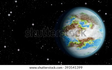 Planet earth surrounded by the stars. Planet earth.