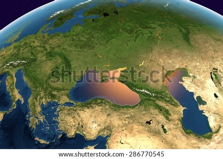 Planet Earth; the Earth from space showing Europe, Ukraine, Turkey, Black Sea, Bulgaria on globe in the day time; elements of this image furnished by NASA - stock photo