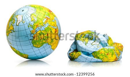 planet earth toy balloon inflated and deflated - stock photo