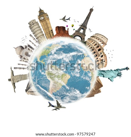 Planet earth travel the world concept on white background - stock photo