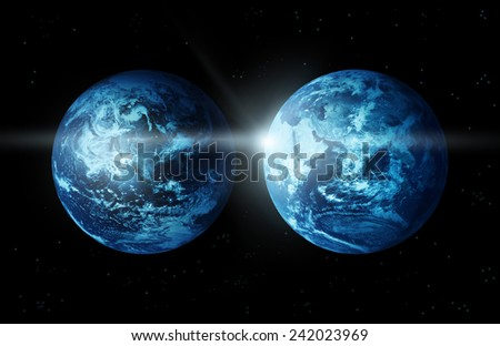 Planet earth two continent with sun rising from space-original image from NASA - stock photo