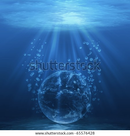 Planet Earth underwater, global warming concept, Earth image from NASA. - stock photo