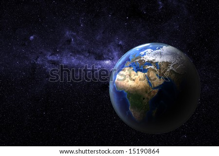 Planet earth - view onto Europe and Africa of a photo realistic and highly detailed computer rendering with atmospheric layer - stock photo