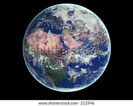 planet earth viewed from space, photorealistic 3dsmax rendering - stock photo