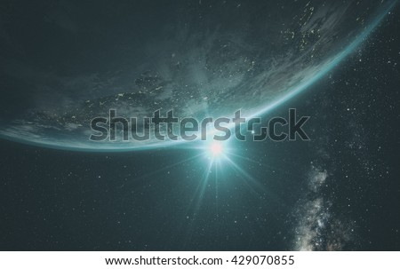 Planet Earth with a spectacular sunrise, view on India, with milkyway in background. 3d Render.  Elements of this image furnished by NASA