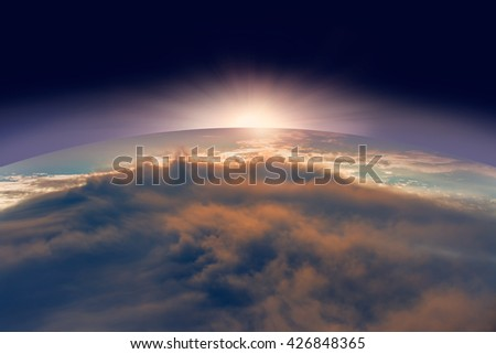 Planet Earth with a spectacular sunset. - stock photo