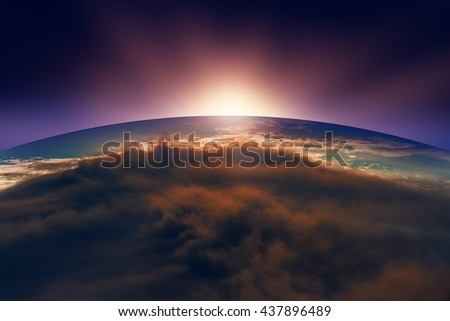 Planet Earth with a spectacular sunset.