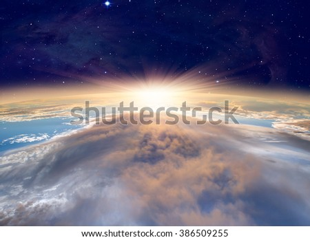 "Planet Earth with a spectacular sunset. .""Elements of this image furnished by NASA"" - stock photo"