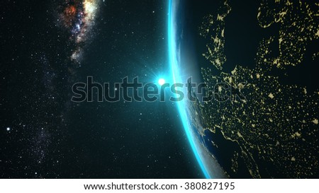 Planet Earth with a spectacular sunset, view on Europe and Africa, with milkyway in background. Elements of this image furnished by NASA - stock photo