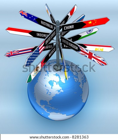 Planet earth with arrows indicating the direction of countries. Concept of Business Travel and Tourism around the World. - stock photo