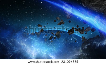 Planet Earth with asteroid in universe or space, Globe and galaxy in a nebula cloud with meteors (Elements of this 3d rendered image furnished by NASA) - stock photo