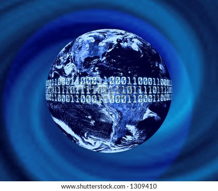 Planet Earth With Binary Code - stock photo
