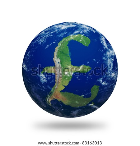 Planet Earth with British Pound sign shaped continents and clouds over a starry sky.  Contains clipping path of planet.