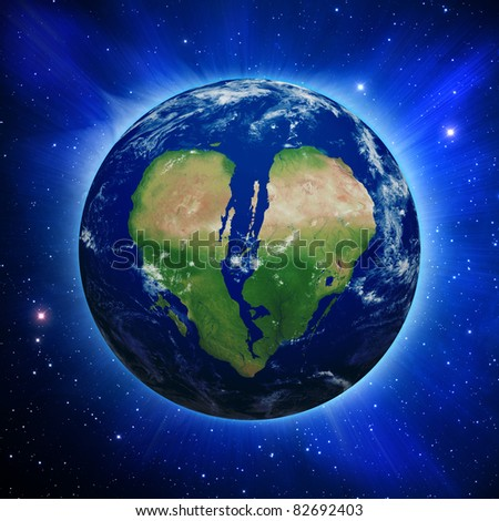 Planet Earth with broken heart shaped continents and clouds over a starry sky.
