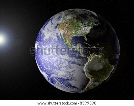 Planet Earth with clipping path, view on North- and South America. CG image with elevation, shadows/highlights and city lights on (see especially the East of the U.S.!!, very unique image.)
