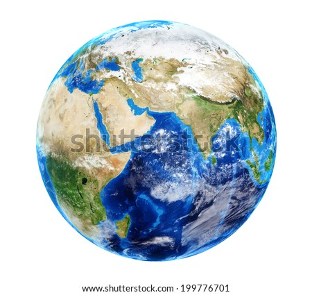 Planet Earth with Clouds - stock photo