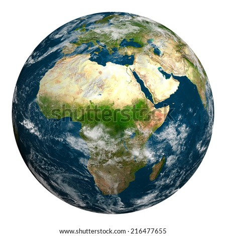 Planet earth with clouds. Africa, part of Europe and Asia. Elements of this image furnished by NASA. - stock photo