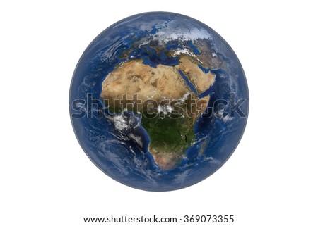 Planet Earth with Clouds and Atmosphere. Africa View. Digitally generated model of Planet Earth. Render based on  reference images of NASA. Elements of this image furnished by NASA - stock photo