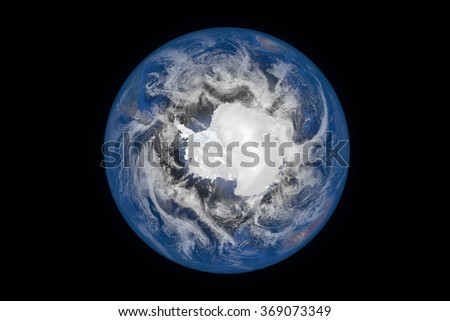Planet Earth with Clouds and Atmosphere. Antarctica View. Digitally generated model of Planet Earth. Render based on  reference images of NASA. Elements of this image furnished by NASA