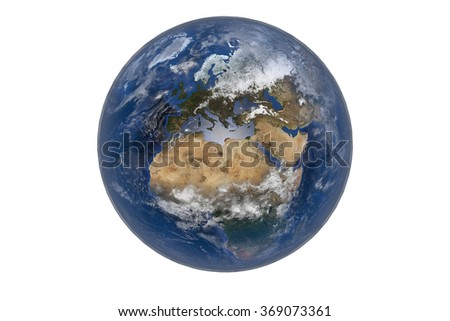 Planet Earth with Clouds and Atmosphere. Europe  View. Digitally generated model of Planet Earth. Render based on  reference images of NASA. Elements of this image furnished by NASA