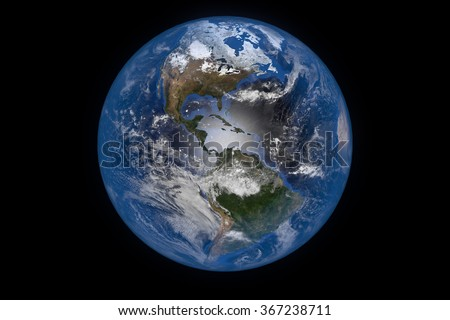 Planet Earth with Clouds and Atmosphere. The Americas. Digitally generated model of Planet Earth. 3D render based on  reference images of NASA. Elements of this image furnished by NASA - stock photo