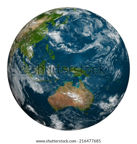 Planet earth with clouds. Australia, Oceania and part of Asia. Elements of this image furnished by NASA.