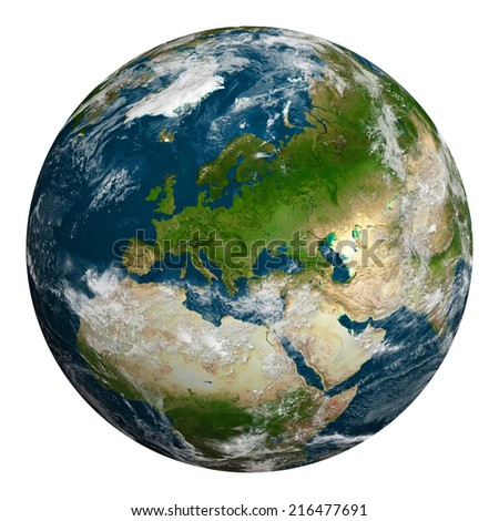 Planet earth with clouds. Europe, part of Asia and Africa. Elements of this image furnished by NASA.
