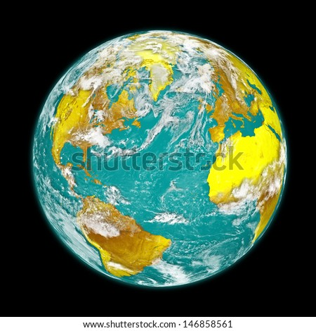 Planet Earth with clouds isolated on black background. Elements of this image furnished by NASA.