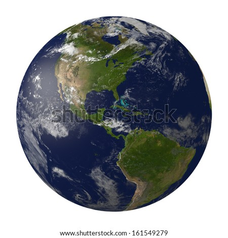 Planet earth with clouds. North and South America. 3D render.  Elements of this image furnished by NASA.