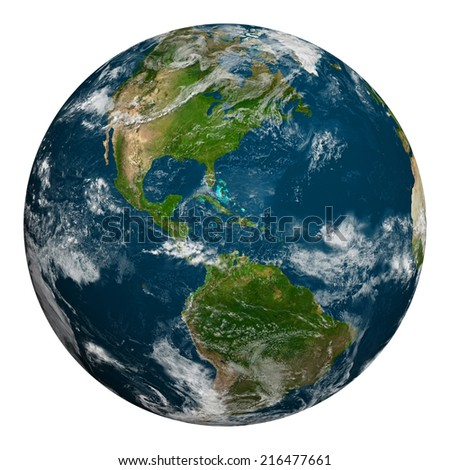 Planet earth with clouds. North and South America. Elements of this image furnished by NASA. - stock photo